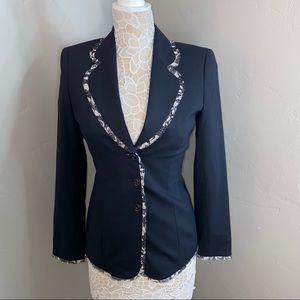 ESCACA || navy blazer with lace detail size 34